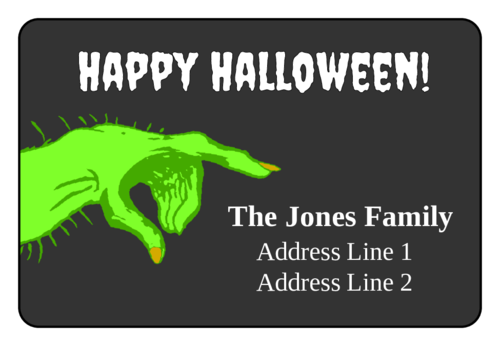 Scary Hand Halloween Address Label