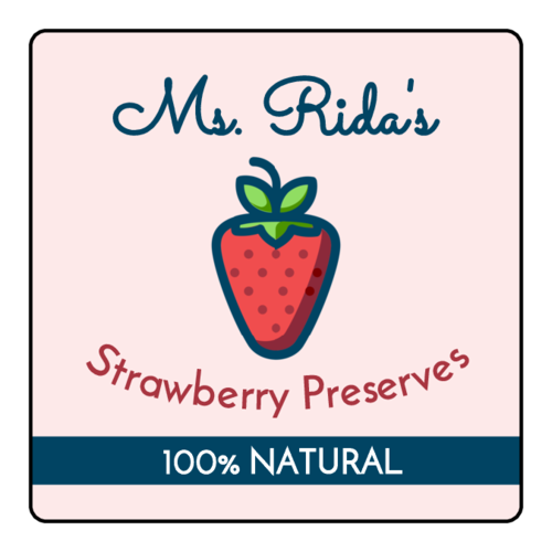 Strawberry Preserves Jar Label