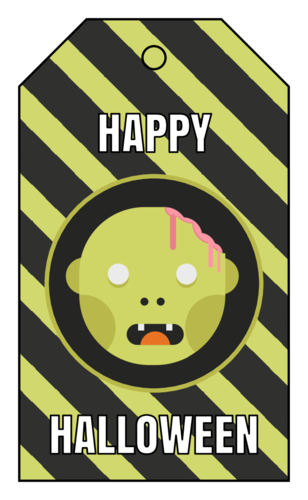 Happy Halloween Zombie Gift Tag