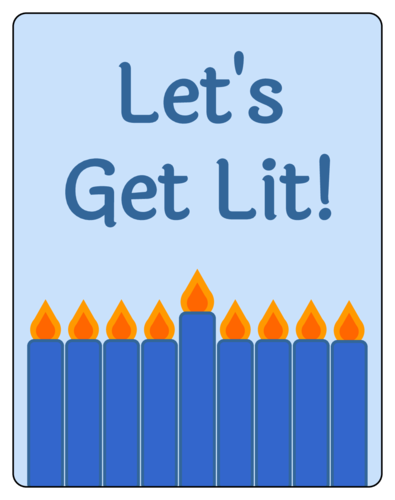 """Let's Get Lit"" Hanukkah Wine Bottle Label"