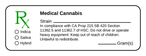 Medical Marijuana Cannabis Prescription Label
