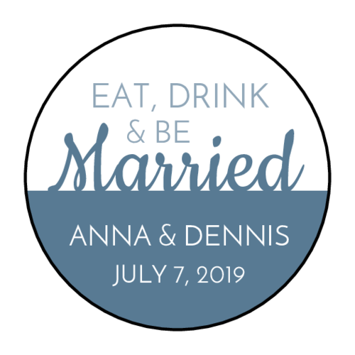 """Eat, Drink, and Be Married"" Wedding Favor Label"