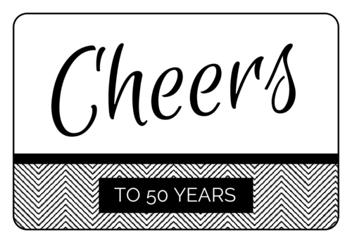 """Cheers!"" Anniversary Champagne Bottle Label"