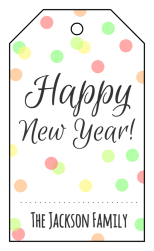 """Happy New Year"" Confetti Cardstock Gift Tag"