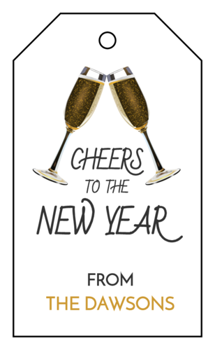 """Cheers To The New Year"" Champagne Cardstock Gift Tag"