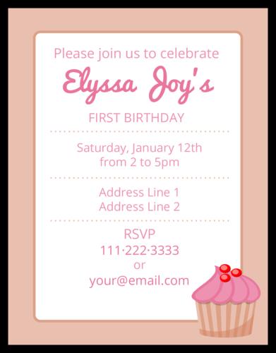 Pink Birthday Cupcake Cardstock Invite