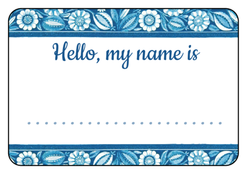 """Hello My Name Is"" Blue Floral Name Tag Label"