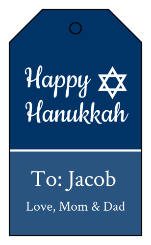 Traditional Hanukkah Cardstock Gift Tag