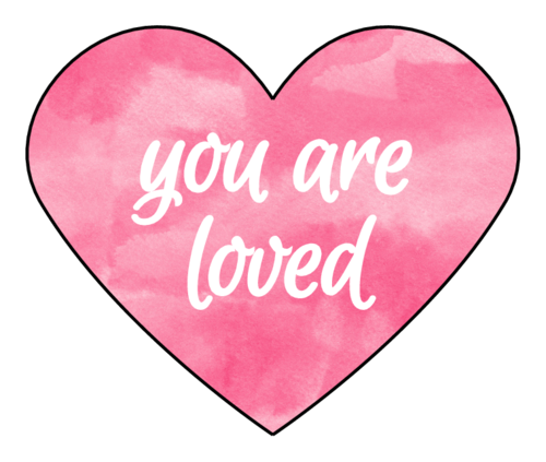 """You Are Loved"" Watercolor Heart Sticker"