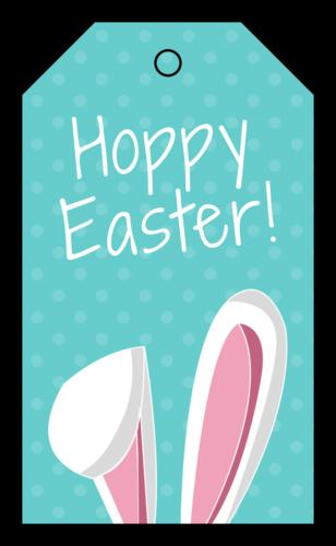"""""""Hoppy Easter!"""" Easter Cardstock Gift Tag"""