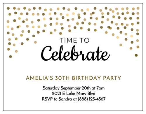 Golden Confetti Cardstock Birthday Invite