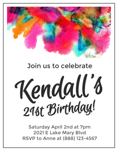 Watercolor Cardstock Birthday Invite