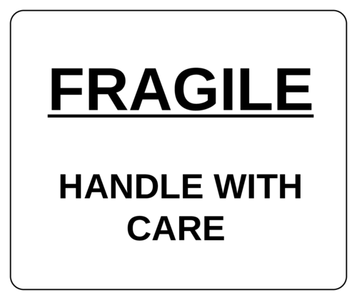 """White """"Fragile - Handle with Care"""" Shipping Label"""