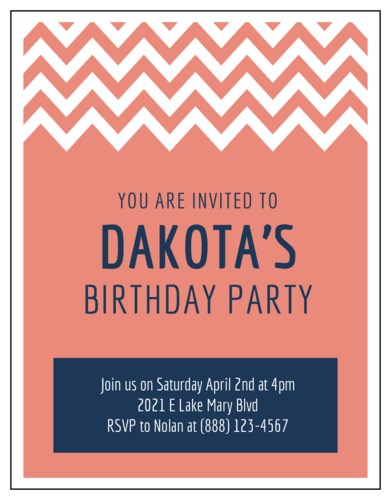 Chevron Cardstock Birthday Party Invitation