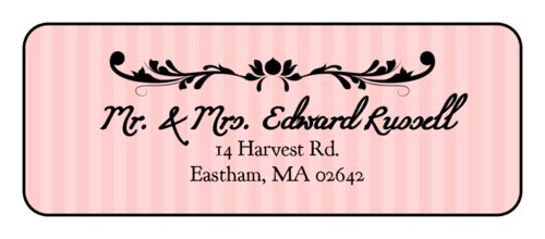 Stiped Filigree Address Label
