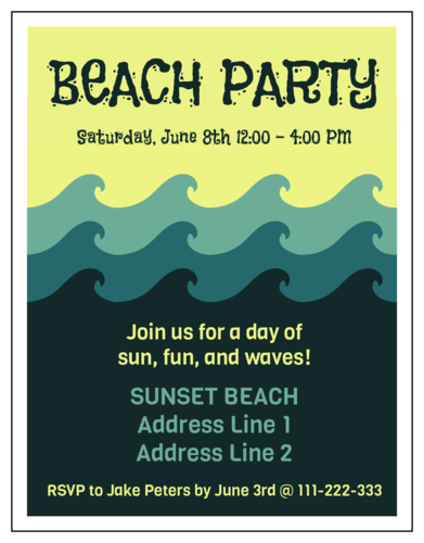 Beach Party Cardstock Invitation