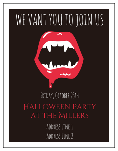 Halloween Party Vampire Invitation