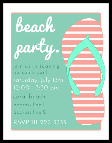 Beach Party Flip Flop Invitation