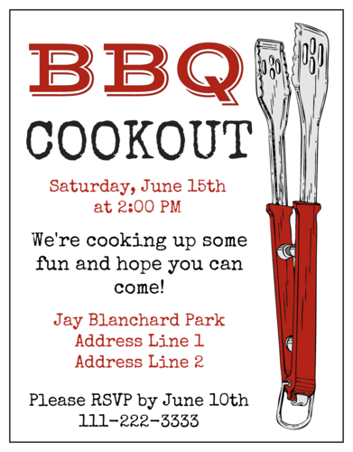 BBQ Cookout Cardstock Invitation