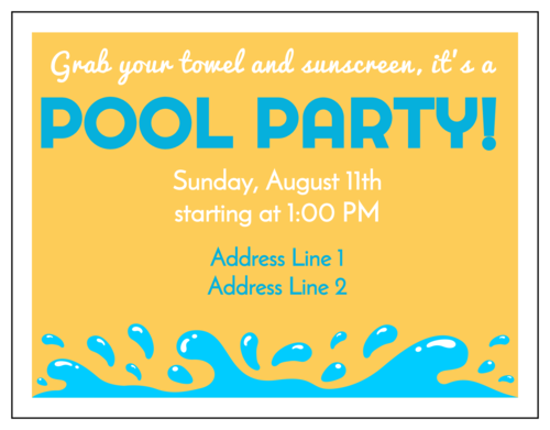 Pool Party Cardstock Invitation