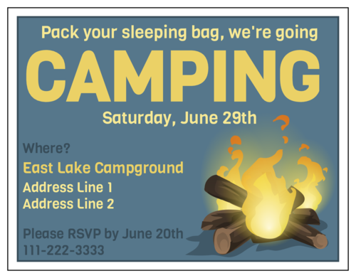 Camping Cardstock Invitation