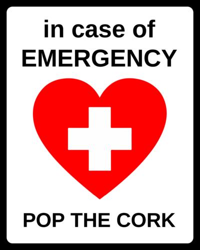 """""""In Case of Emergency: Pop The Cork"""" Wine Bottle Label"""
