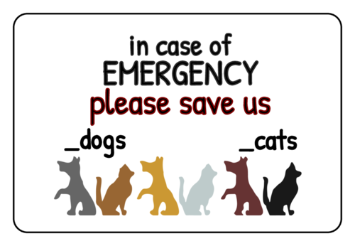 Pet Emergency Dog/Cat Home Notification Label