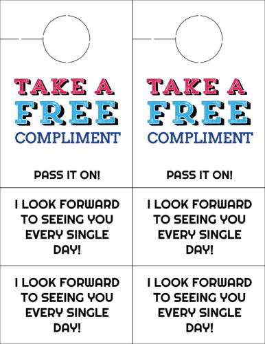 Free Compliment Cardstock Door Hanger