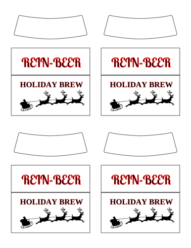 """Rein-Beer"" Holiday Brew Beer Bottle Label"