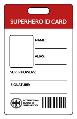 Superhero ID Card Label