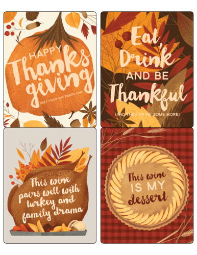 Funny Thanksgiving Wine Bottle Labels Printable