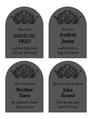 Gravestone-Themed Halloween Favor Labels Printable