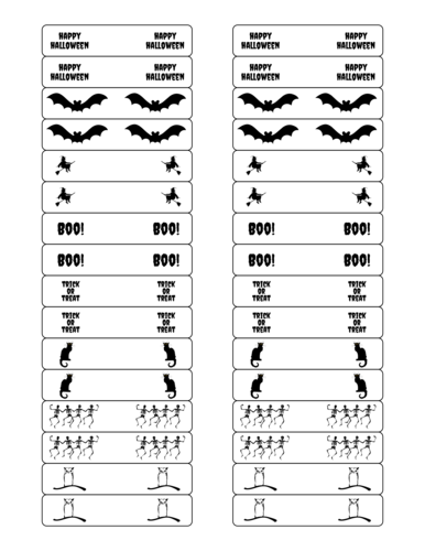 Halloween Symbols Party Favor Labels Printable