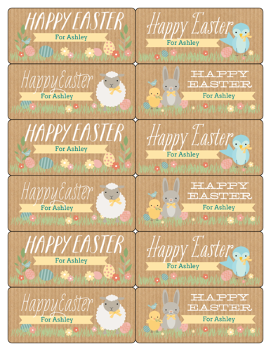 Assorted Easter Gift Tag Labels Printable