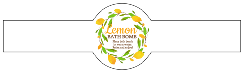 Lemon Wreath Bath Bomb Wrap-Around Label