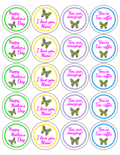 Assorted Mother's Day Butterfly Labels Printable