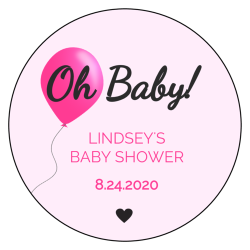 """Oh Baby"" Balloon Baby Shower Sticker"