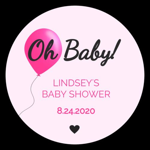 """""""Oh Baby"""" Balloon Baby Shower Sticker"""