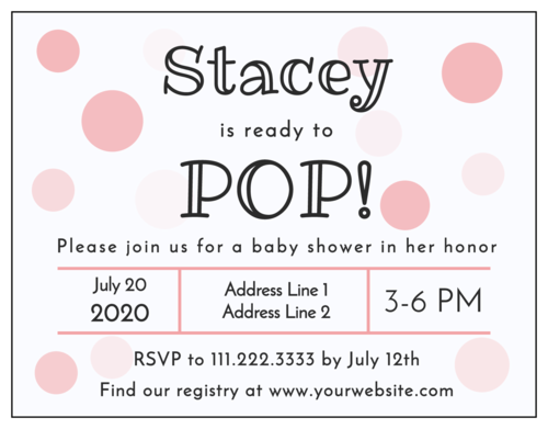 """Ready to Pop!"" Cardstock Baby Shower Invite"