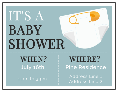 It's a Baby Shower Cardstock Invitation