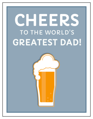 """Cheers to the World's Greatest Dad!"" Cardstock Note Card"