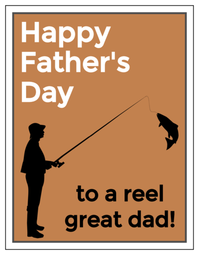 """Happy Father's Day to a Reel Great Dad!"" Cardstock Note Card"