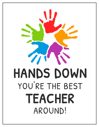 """Best Teacher Around!"" Cardstock Note Card"