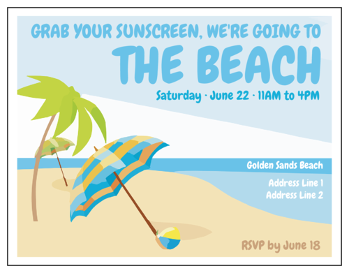 """Grab Your Sunscreen Beach Party"" Cardstock Invite"