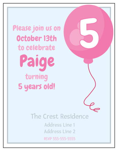 Pink Balloon Birthday Party Invitation