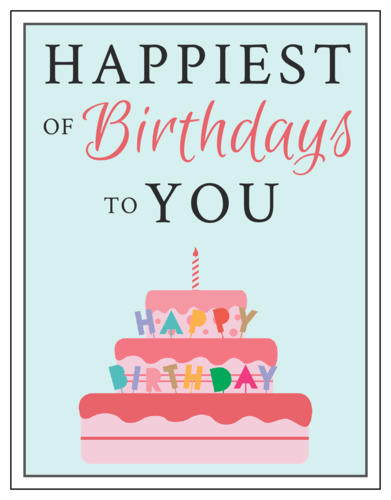 """Happiest of Birthdays to You"" Cardstock Note Card"