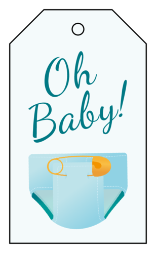 """Oh Baby!"" Baby Shower Cardstock Gift Tag"