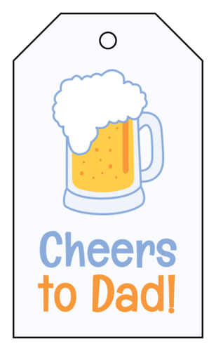 """Cheers to Dad!"" Father's Day Cardstock Gift Tag"