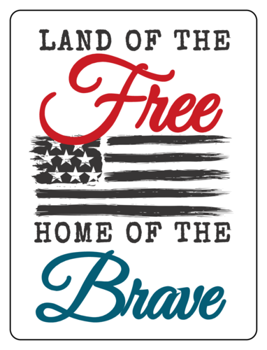 """Land Of The Free, Home Of The Brave"" Fourth of July Bottle Label"