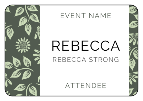 Floral Event Name Tag Label